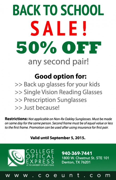 Back To School Sale 2015 - COE